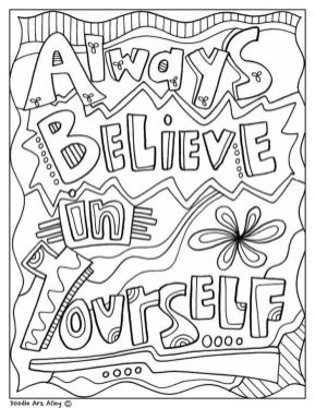 Quote Coloring Pages Free Always Believe in Yourself