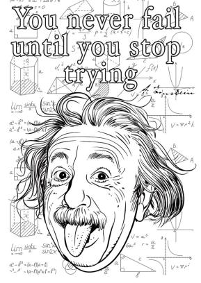 Quote Coloring Pages for Adults Einstein Quote Never Stop Trying