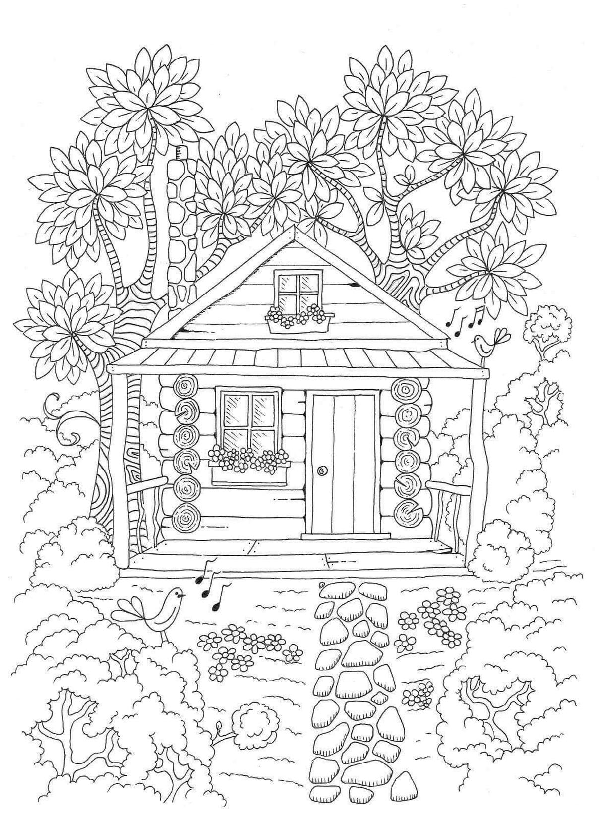 Spring Coloring Pages Free for Grown Ups Beautiful House in Spring
