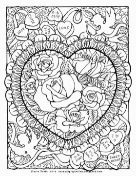 Spring Coloring Pages Free for Grown Ups Heart Full of Rose Blossoms