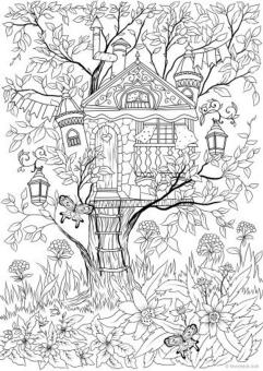 Spring Coloring Pages for Adults Birdhouse and Butterflies
