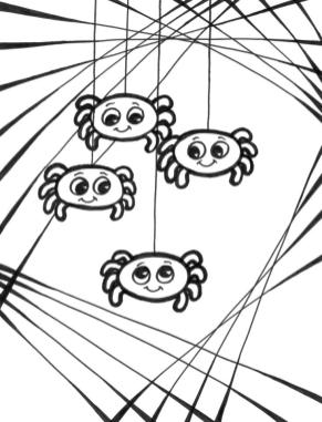 Four Baby Spiders Hanging Coloring Page for Kindergarten 49tl