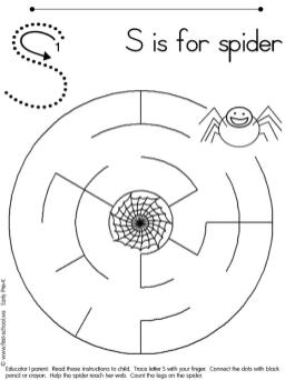 S is for Spider Coloring Page for Kids 77rz