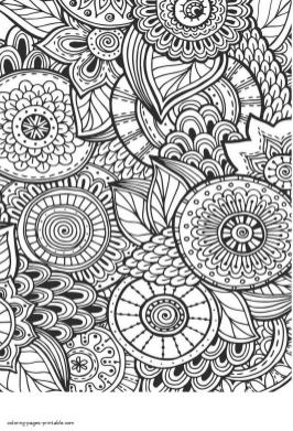 Abstract Art Coloring Pages Circular Flower Art Drawing