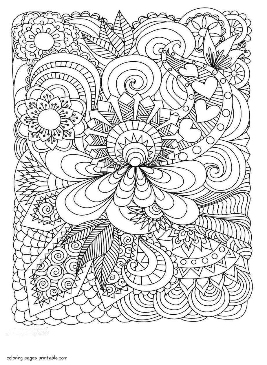 Abstract Art Coloring Pages Geometric Leaves and Heart Pattern