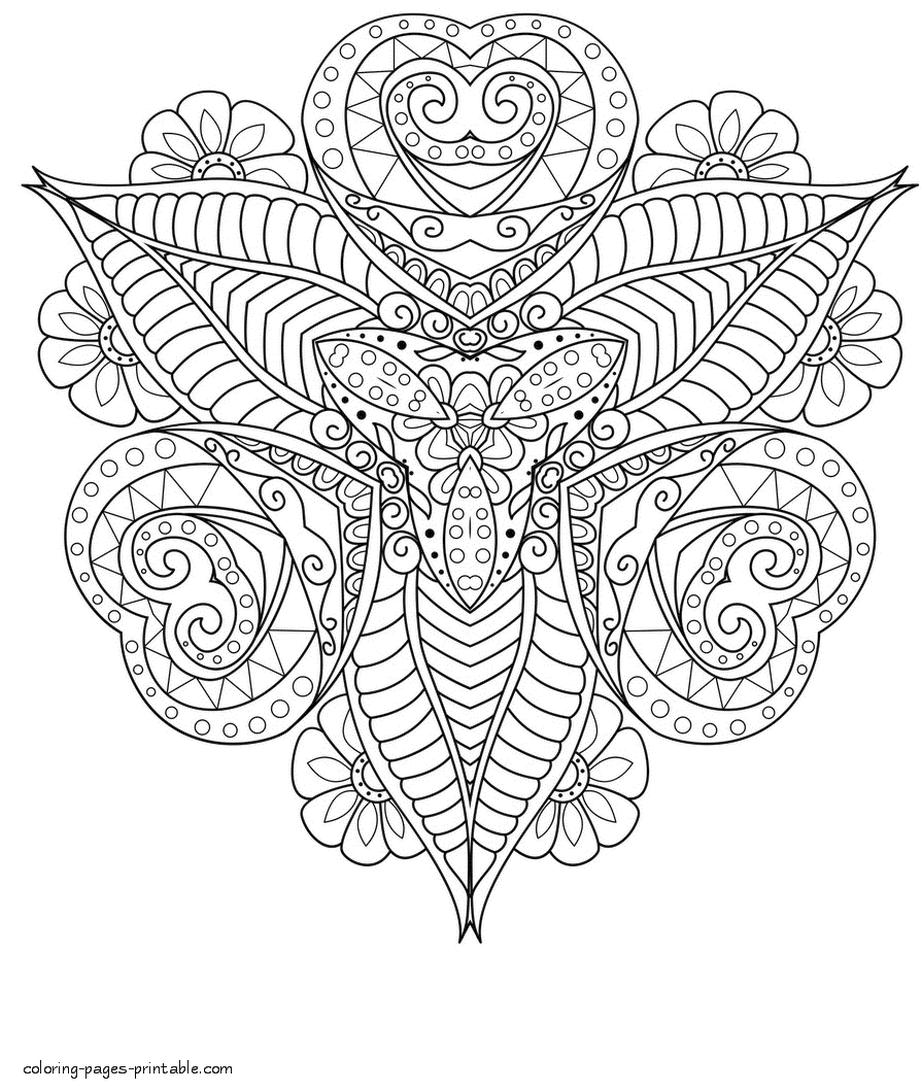 Abstract Art Coloring Pages Triangular Hearts And Leaves Arrangement