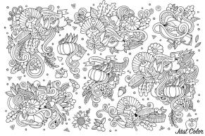 Adult Coloring Pages Abstract Thanksgiving theme