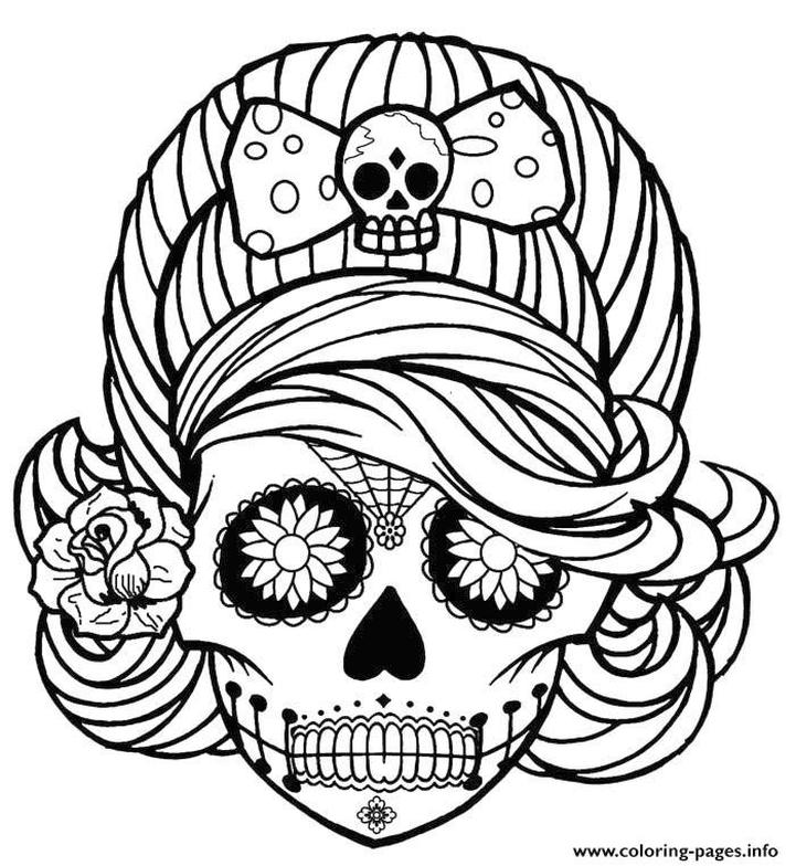 Coloring Pages for Teenage Girl Easy Day of the Dead Makeup