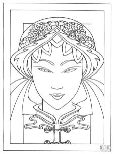 Coloring Pages for Teenage Girl Printable Geisha from Japan