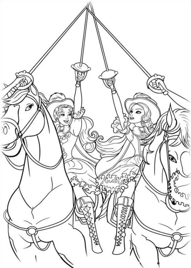 Coloring Pages for Teenage Girl to Print Barbie Musketeers