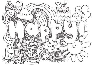 Coloring Pages for Teenagers Happy Doodle