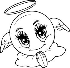 Emoji Coloring Pages Black and White Angel Eyes