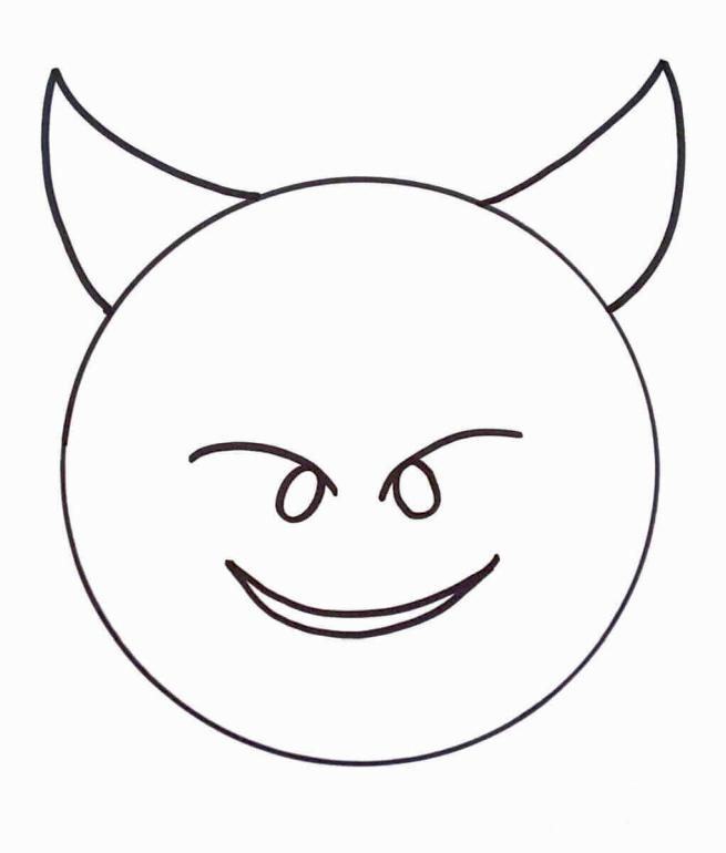 Emoji Coloring Pages Cute Devil Emoji