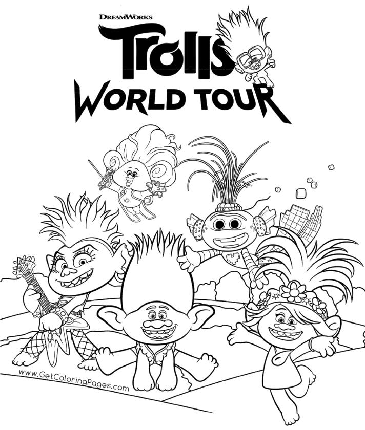 Favorite Characters from Trolls World Tour Movie Coloring Pages