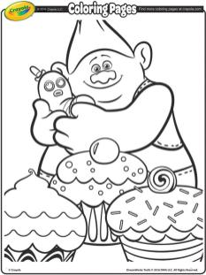 Free Trolls Coloring Pages Biggie Likes Cupcake