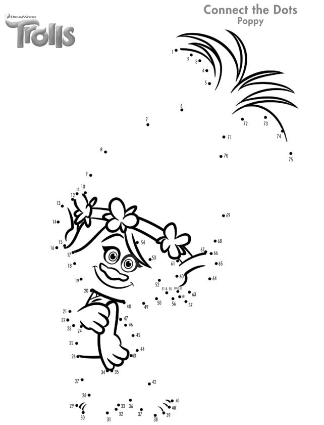 Free Trolls Coloring Pages Connect the Dots to Draw Poppy