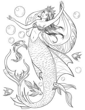 Mermaid Adult Coloring Pages q13n