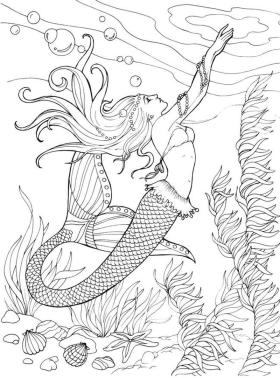 Mermaid Adult Coloring Pages r3t1