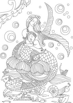 Mermaid Coloring Pages for Adult m04mk