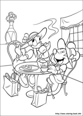 Minnie Mouse Coloring Pages Minnie and Daisy Having A Tea Party