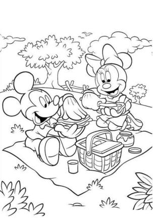 Minnie Mouse Coloring Pages to Print Minnie Making a Sandwich with Mickey