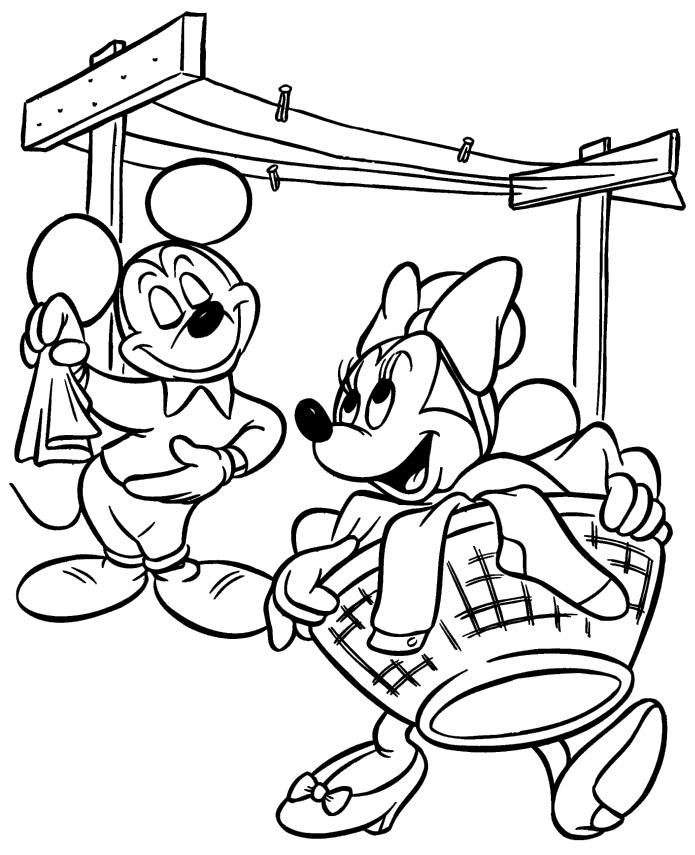 Minnie Mouse Coloring Pages to Print Minnie and Mickey Doing Laundry