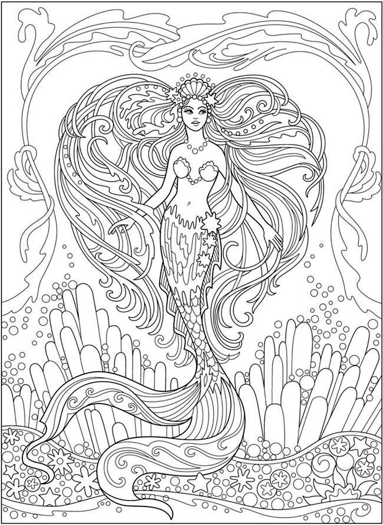 Realistic Mermaid Coloring Pages for Adult h312t