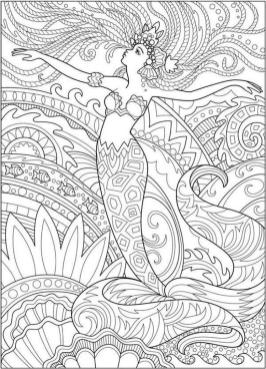 Realistic Mermaid Coloring Pages for Adult m3d54