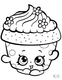 Shopkins Coloring Pages Cupcake Petal