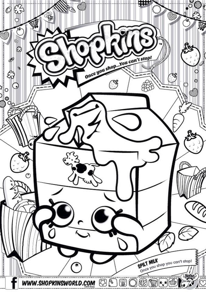 Shopkins Coloring Pages for Free Spilt Milk