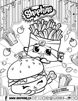 Shopkins Coloring Pages for Free Wise Fry Frites and Cheddar