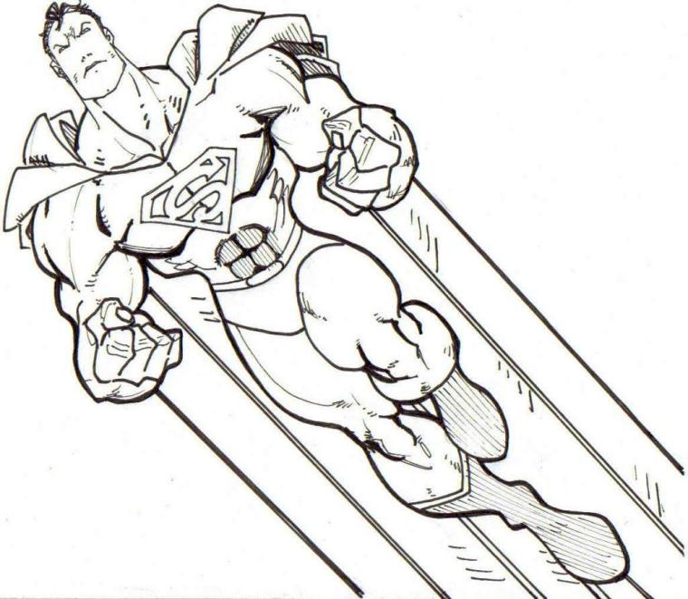 Superhero Coloring Pages Free Online Superman Flying in the Sky
