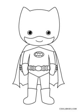 Superhero Coloring Pages for Toddlers Boy Wearing Batman Outfit