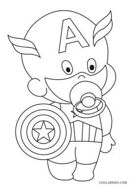 Superhero Coloring Pages for Toddlers Funny Baby Captain America