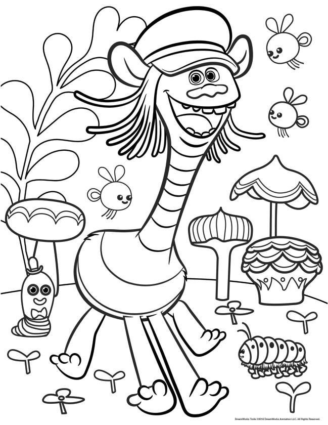 Trolls Coloring Pages Troll with Four Legs and Long Neck