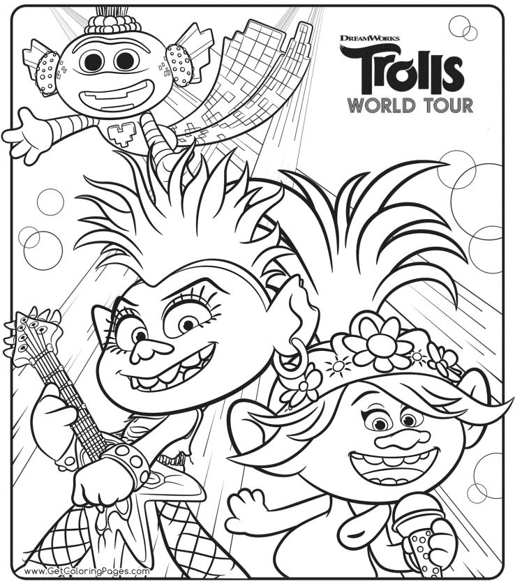 Trolls World Tour Movie Coloring Pages Barb and Poppy Poster