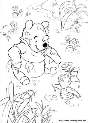 Winnie the Pooh Coloring Pages Cute Pooh Playing Mud with Piglet