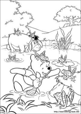 Winnie the Pooh Coloring Pages Cute Pooh and Friends Trying to Catch a Frog