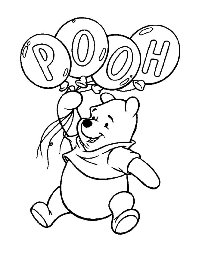 Winnie the Pooh Coloring Pages Easy Pooh Holding Four Balloons