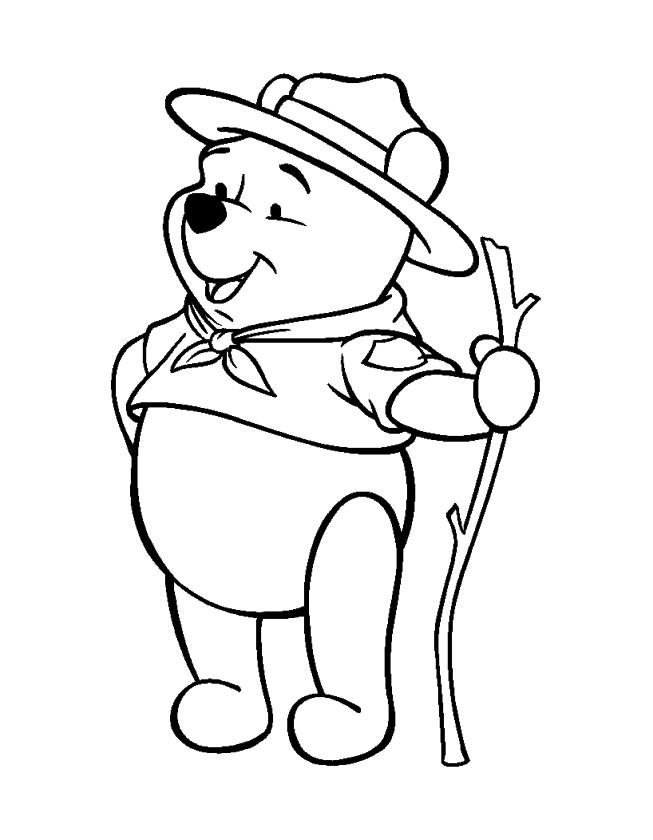 Winnie the Pooh Coloring Pages Easy Pooh Is a Good Boy Scout