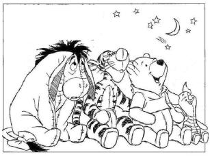 Winnie the Pooh Coloring Pages Free Pooh and Friends Watching Starry Night Sky