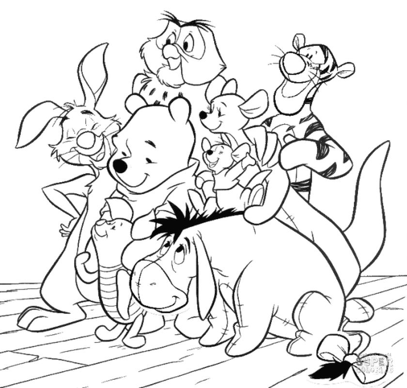 Winnie the Pooh Coloring Pages Pooh and All His Friends