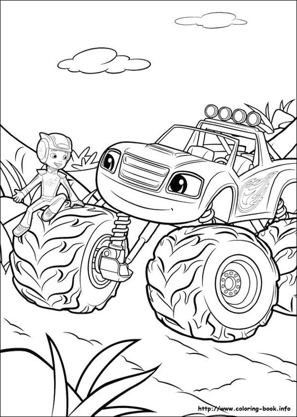 Blaze Coloring Pages Hanging Out with Best Friends