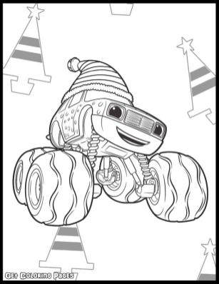 Blaze Coloring Pages Online Darington with Christmas Hat