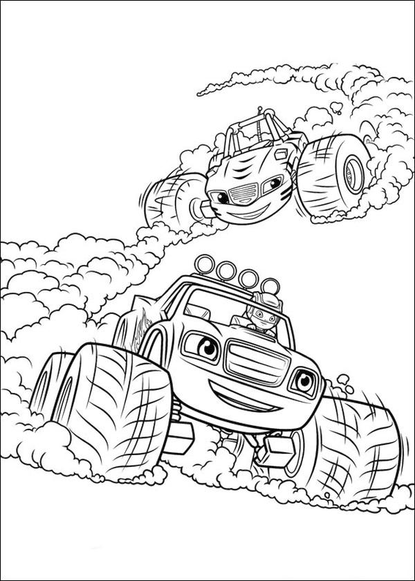 Blaze Coloring Pages Printable Blaze and Stripes Racing