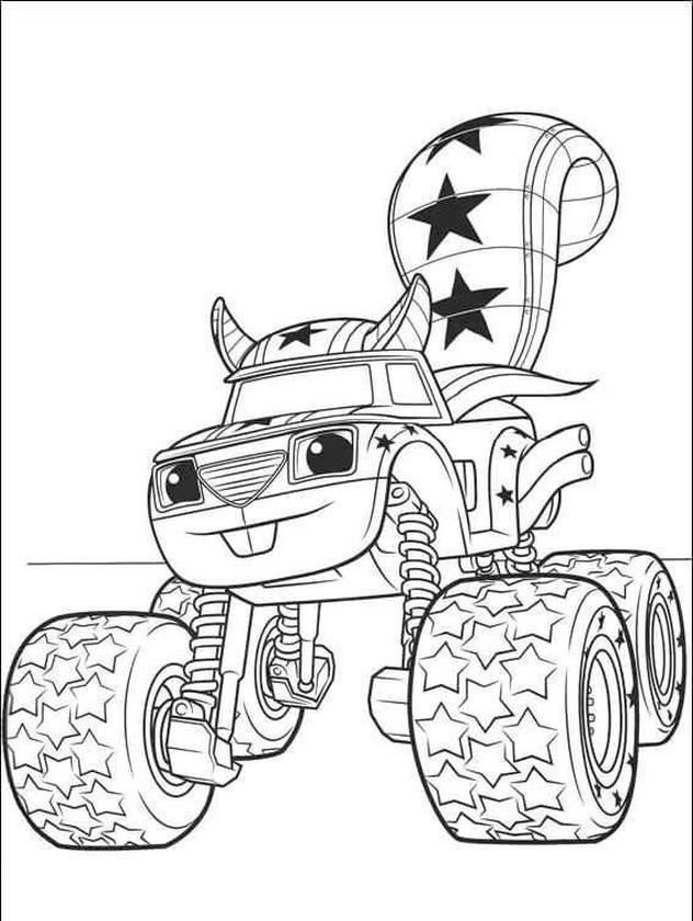 Blaze and Friends Coloring Pages Squirrel Stuntman Truck