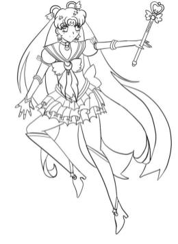 Cute Sailor Moon Coloring Pages Usagi with Her Magic Wand