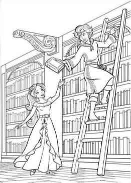 Elena of Avalor Coloring Sheet Elena and Mateo in the Royal Library