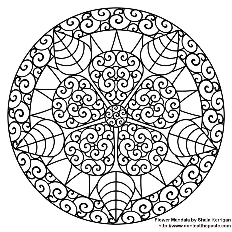 Hard Coloring Pages Circular Flower Mandala