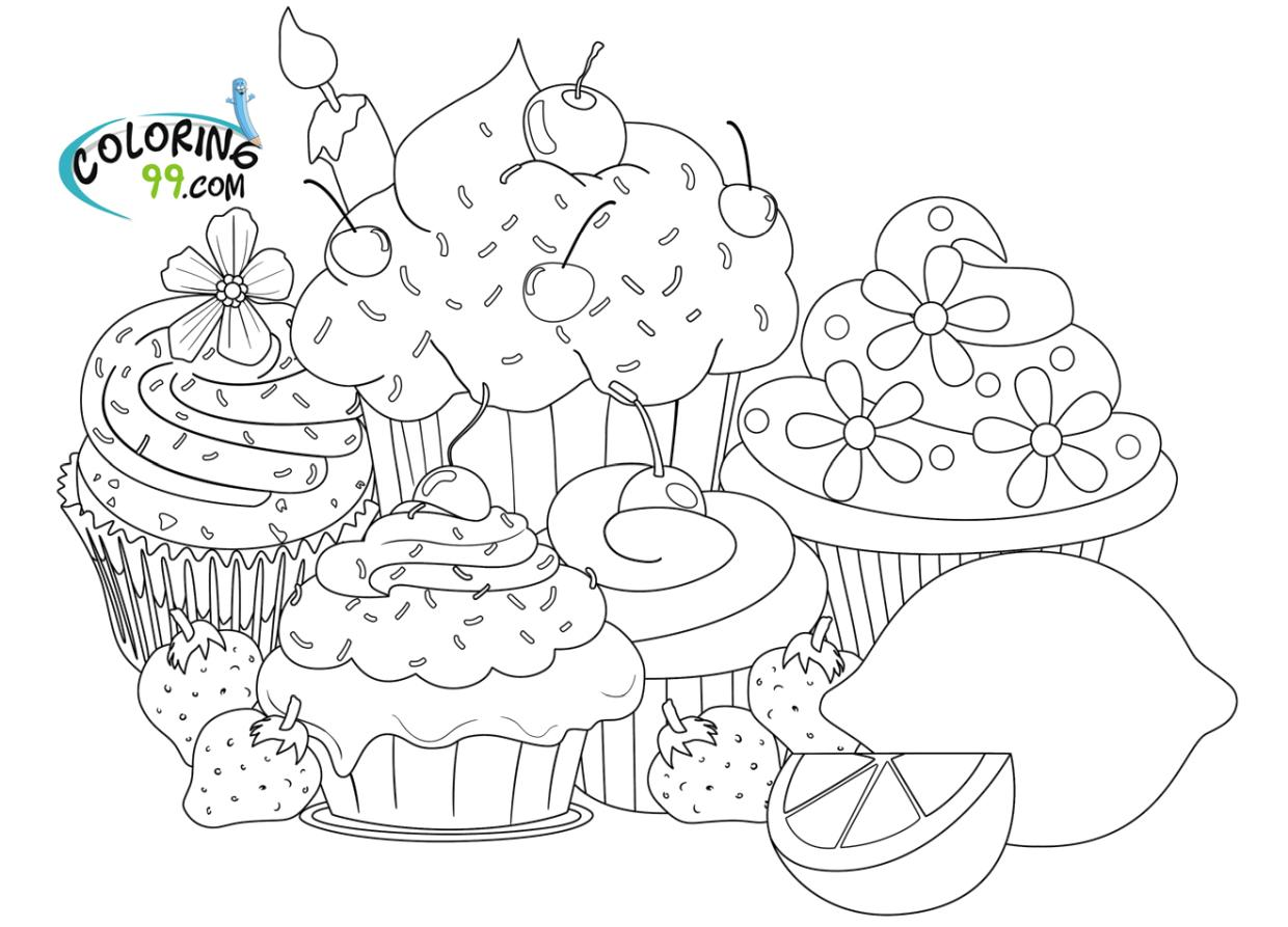 Hard Coloring Pages Online Lots of Cupcakes